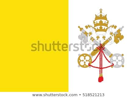 Vatikán zászló fehér szív világ felirat Stock fotó © butenkow