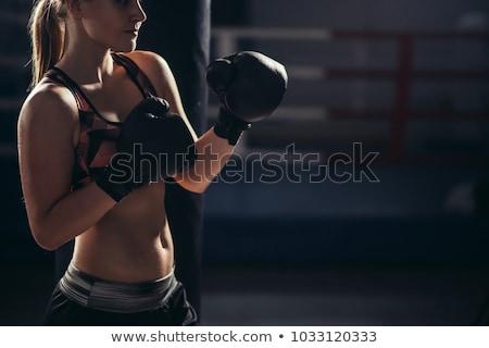 Vrouwelijke kick bokser handschoenen fitness Stockfoto © wavebreak_media