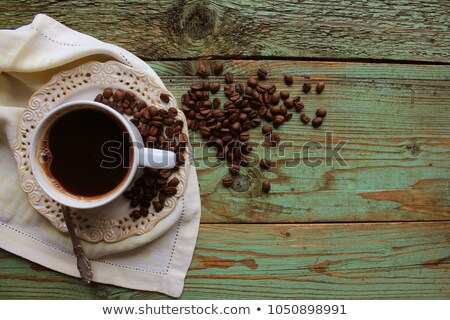 Top view image of coofee cup on rustic wooden table. vintage filtered Stock photo © Virgin