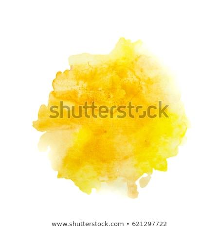 Turuncu sarı suluboya boyalı leke yalıtılmış Stok fotoğraf © balasoiu