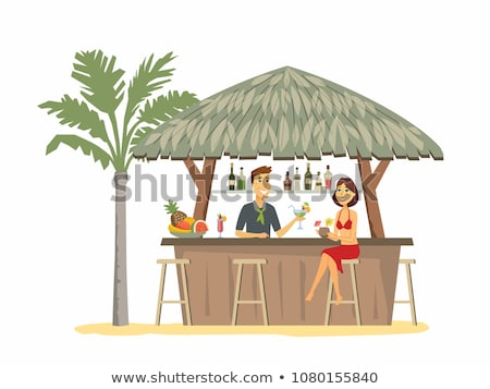 Woman at the beach bar - cartoon people character illustration Stock photo © Decorwithme