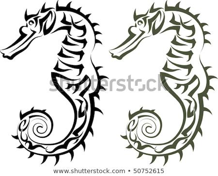 Stock photo: Seahorse tribal icon