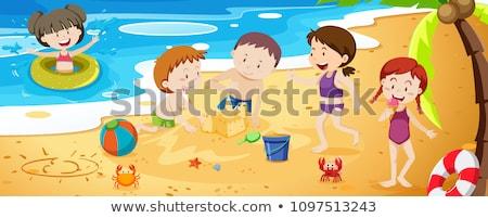 zomer · activiteit · jongen · meisje · spelen · strand - stockfoto © bluering