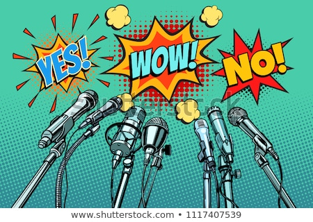 press conference microphones background, Yes no wow Stock photo © studiostoks