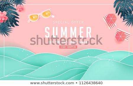 nyári · vakáció · tengerpart · kalap · virágok · krém · pálma - stock fotó © Lana_M
