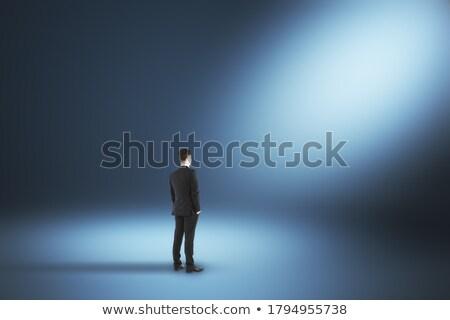 Grijs pak zakenman spotlight exemplaar ruimte ontwerp Stockfoto © toyotoyo