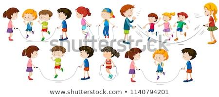 Gyerekek ugrókötél illusztráció sport gyermek fitnessz Stock fotó © bluering