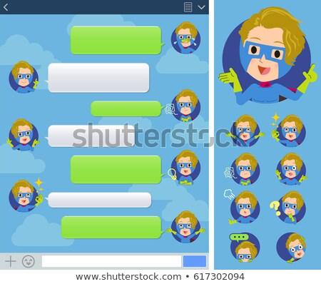 super hero man Blue Green sns window Stock photo © toyotoyo