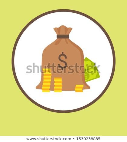 Nyereség promo logotípus táska pénz érmék Stock fotó © robuart