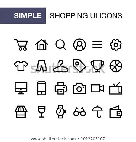 Vásárlás ikon gyűjtemény online bolt lineáris stílus ikonok Stock fotó © robuart