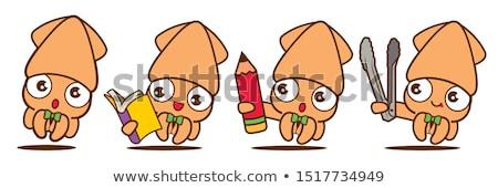 Rajz tintahal olvas illusztráció könyv mosoly Stock fotó © cthoman