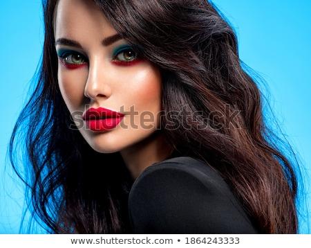Gyönyörű fiatal nő vörös rúzs szépség smink emberek Stock fotó © dolgachov