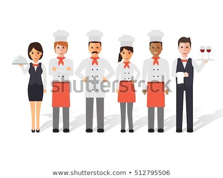 Pincérnő pincér ikon szett női visel kötény Stock fotó © robuart
