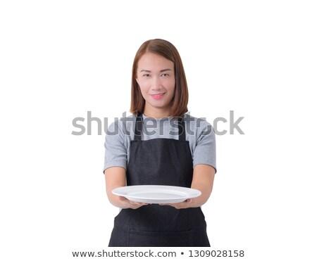 Delivery. Hotel service. Waitress. empty plate Stock photo © rogistok