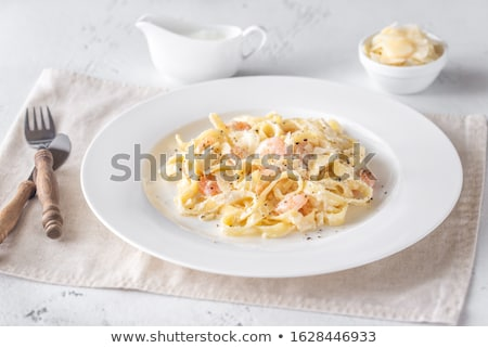 Stockfoto: Garnalen · pasta · groene · kaas · plaat