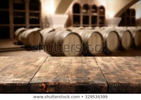Vetro vino legno desk uomo Foto d'archivio © AndreyPopov