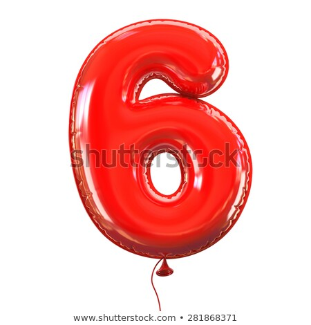 Red glossy font Number 6 SIX 3D Stock photo © djmilic