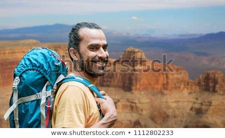 Közelkép férfi hátizsák Grand Canyon kaland utazás Stock fotó © dolgachov