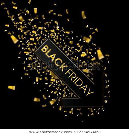 Black Friday Down Arrow Golden Confetti Stock photo © limbi007