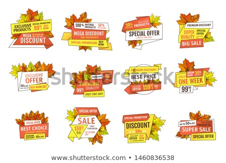 Stock photo: Sale Emblems with Info About Prices and Oak, Maple
