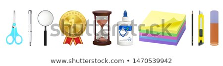 Magnifying Glass, Office Paper Icon, Sharp Pencil Stock photo © robuart