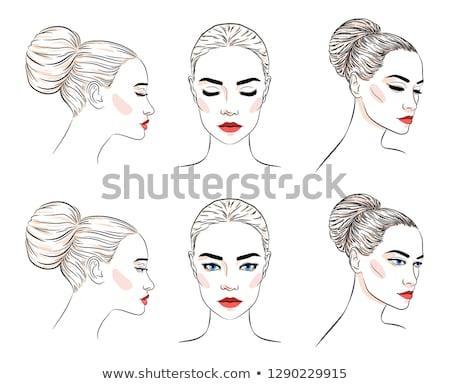 szépség · női · arc · piros · ajkak · vektor · portré · gyönyörű · nő - stock fotó © marysan
