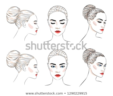 Set of beautiful woman with bun hairstyle and elegant makeup Stock photo © MarySan