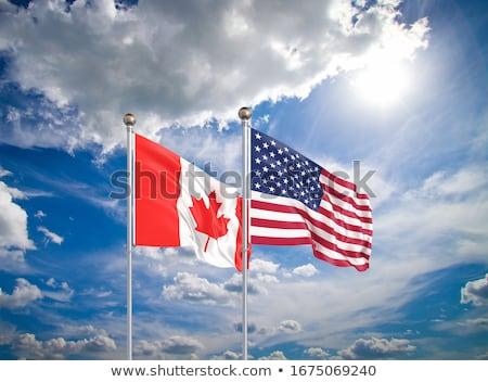 Foto stock: Dois · bandeiras · Estados · Unidos · Canadá · isolado