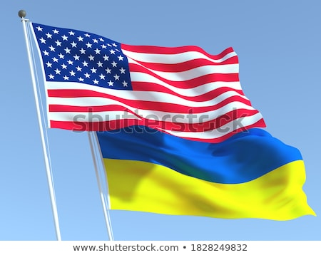 Two waving flags of United States and ukraine Stock photo © MikhailMishchenko