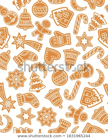 vector set of gingerbread cookies pattern stock photo © netkov1