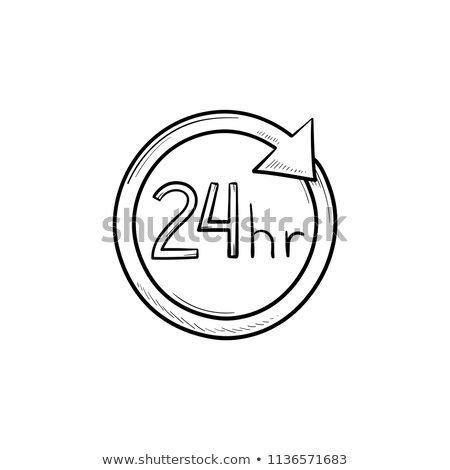 24 hours available hand drawn outline doodle icon. Stock photo © RAStudio