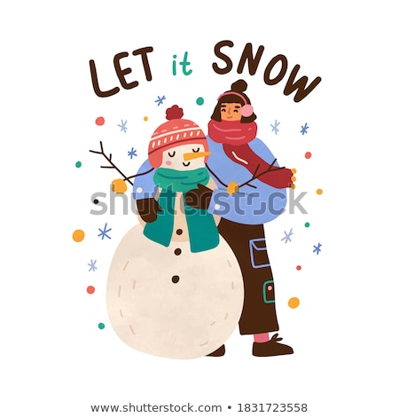 christmas holidays girl with card kids and snowman stock photo © robuart