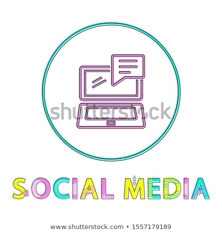 social media round linear icon with open laptop stock photo © robuart