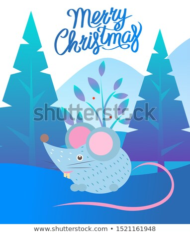 Merry Christmas near Fir-tree and Mountain Vector Stock photo © robuart