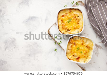 Stockfoto: Gebakken · champignon · kip · kaas · witte · keramische