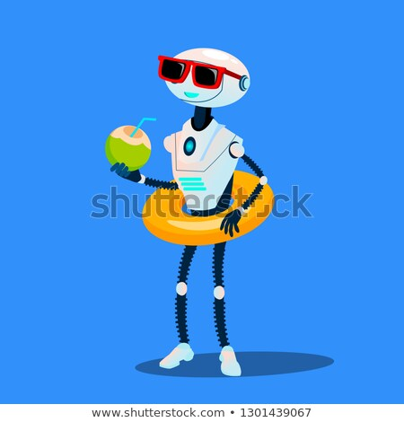 Robot On Vacation With Inflatable Circle And Cocktail Vector. Isolated Illustration Stock photo © pikepicture