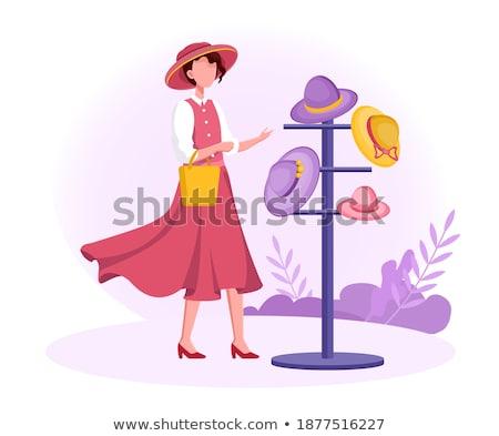 женщину торговых бутик Hat вектора модный Сток-фото © robuart