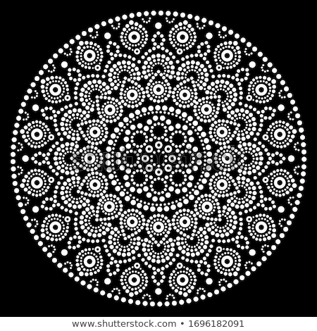 mandala vector design aboriginal dot painting style australian folk art boho style in white on bl stock photo © redkoala