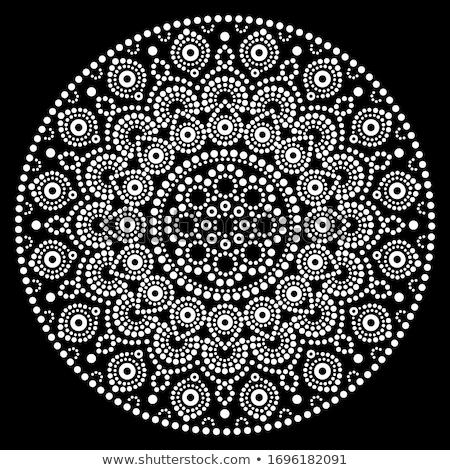 Mandala vector design, Aboriginal dot painting style, Australian folk art boho style in white on bl Stock photo © RedKoala