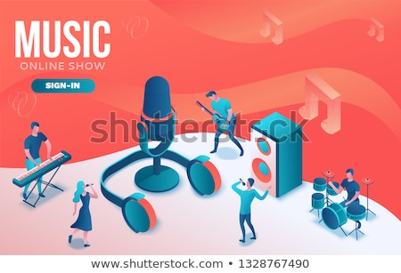 blogging online   modern colorful isometric vector illustration stock photo © decorwithme