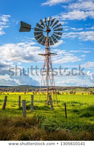 Południowy krzyż wiatrak wiejski dziedzinie Zdjęcia stock © lovleah