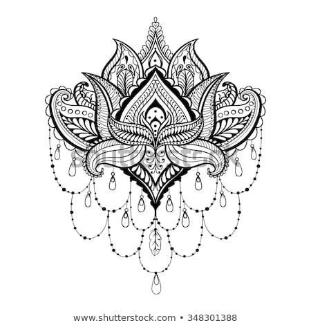 Lotus flower vector design, Mehndi henna tattoo style, Yoga or zen decoration, boho style Stock photo © RedKoala