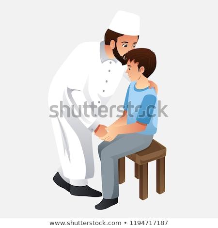 Muslim Father Kissing His Son Illustration Stock photo © artisticco