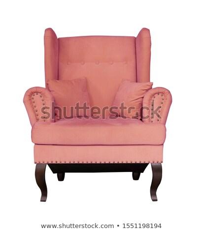 кресло белый ткань мягкой розовый подушкой Сток-фото © Lady-Luck