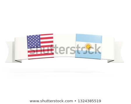 Banner with two square flags of United States and argentina Stock photo © MikhailMishchenko