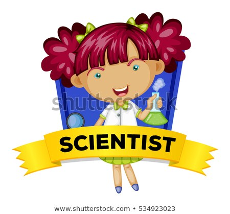 Occupation wordcard with female scientist Stock photo © colematt