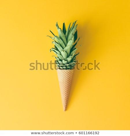 ananas · parlak · sarı · gerçekçi · restoran · yeme - stok fotoğraf © ConceptCafe