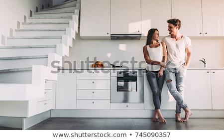 paar · keuken · gelukkig · jonge · vrouw · vers - stockfoto © pressmaster