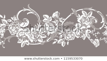 Seamless lace pattern, horizontal design with roses, flowers and swirls, detailed lace motifs Stock photo © RedKoala