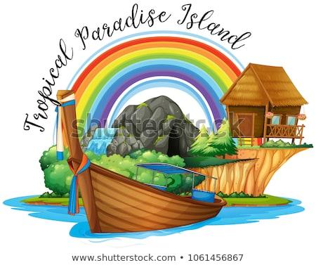 été chalet bateau île illustration bâtiment Photo stock © colematt